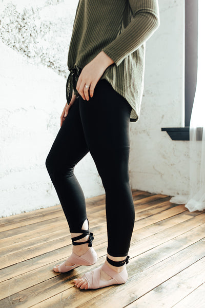 Abby Ballet Tie Black Leggings