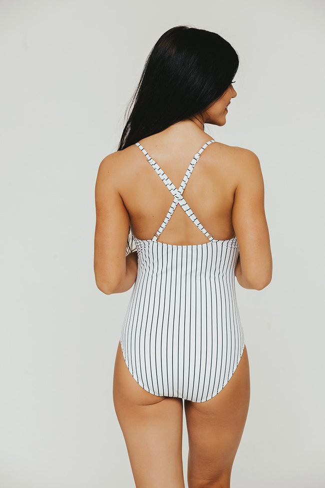 Pinstripe Diagonal Ruffle One Piece