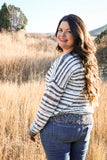 Victoria Light Blue Striped Lace Up Sweater