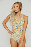 Yellow Lily Diagonal Ruffle One Piece