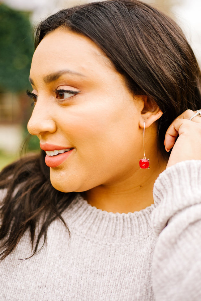 Crystal Drop Earrings In Ruby - 12/19/2019