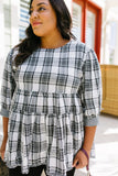 Gingham & Plaid Babydoll Blouse
