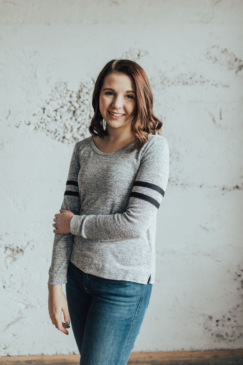 Grey Sporty Striped Long-sleeve