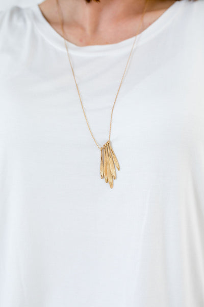 Luxor Brushed Gold Pendant Necklace