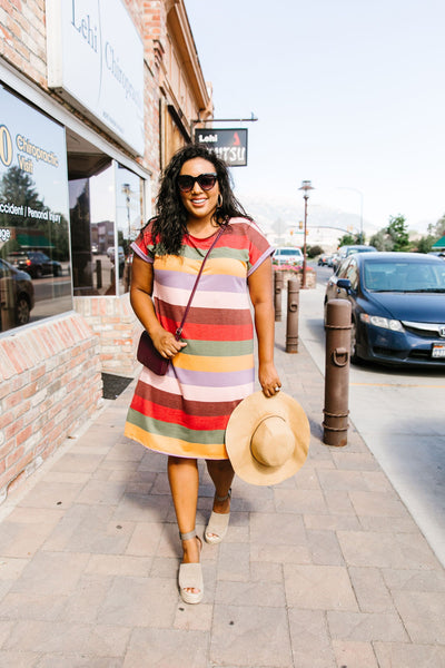 Fall Striped T-Shirt Dress