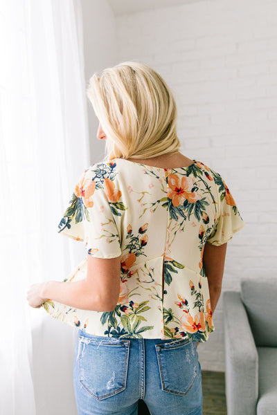 Tropical Paradise Blouse In Cream