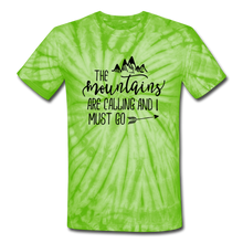 The Mountains Are Calling and I must Go Tie-Dye Unisex Tee - spider lime green