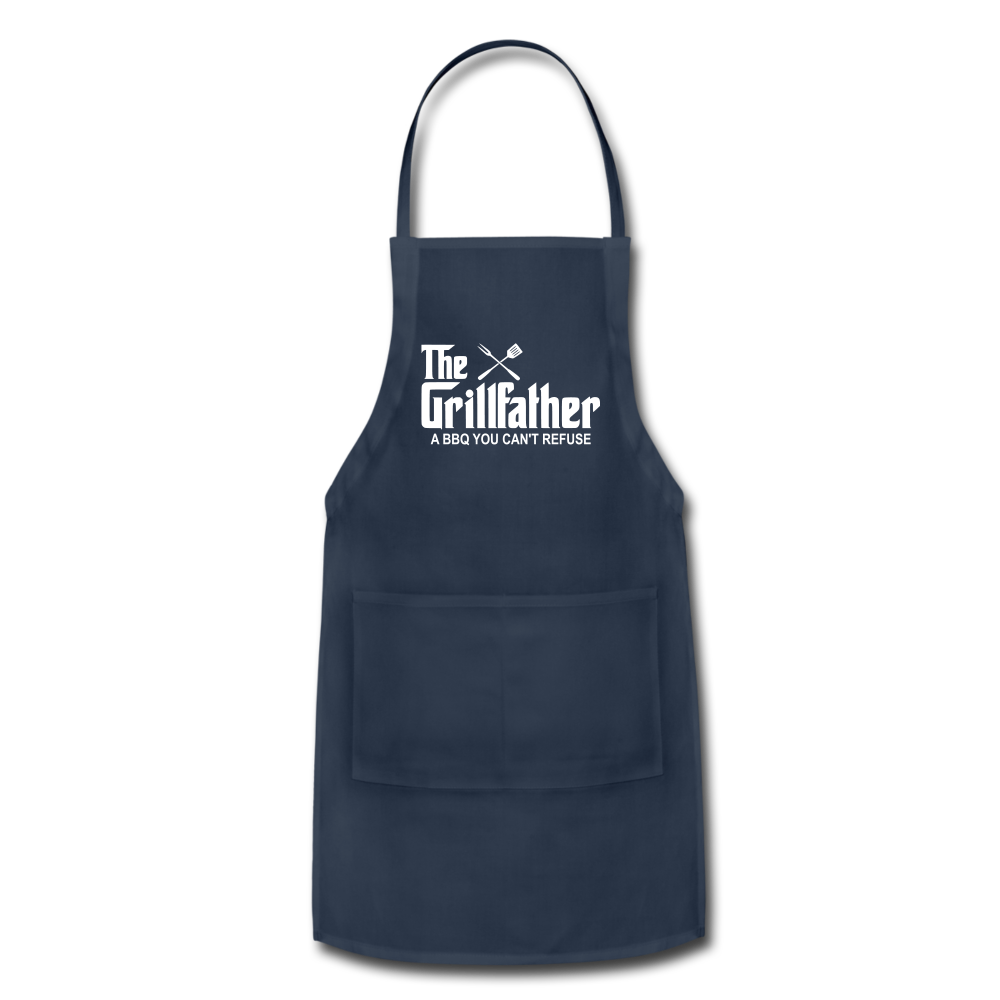 The Grill Father a BBQ You Can't Refuse Apron - navy