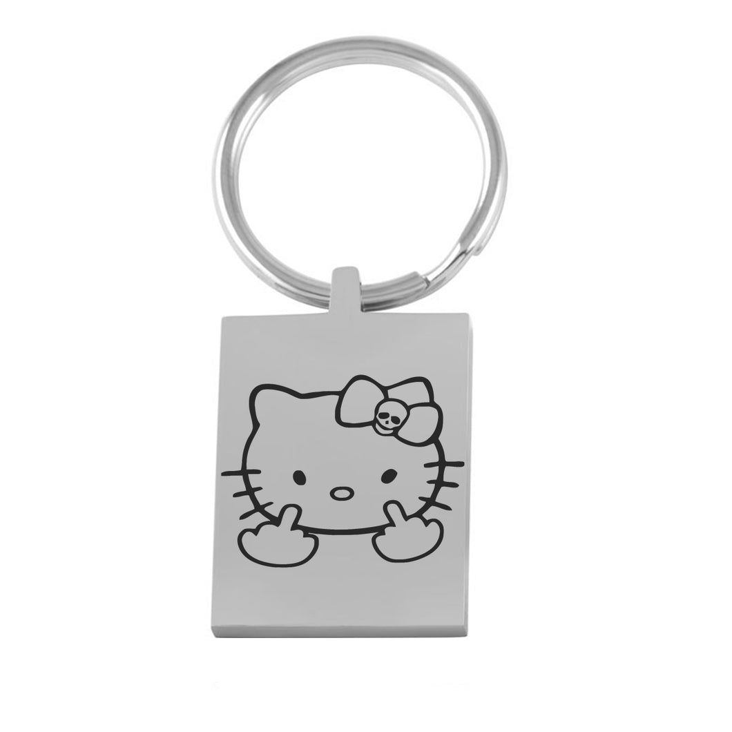 Kitty Middle Finger Engraved Key Chain Cat Hello