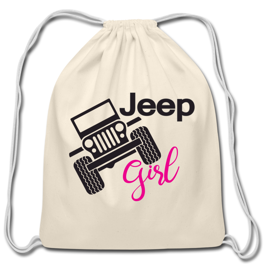 Jeep Girl Drawstring Bag - natural