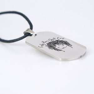 Curly Hair Dont Care Dog Tag Necklace