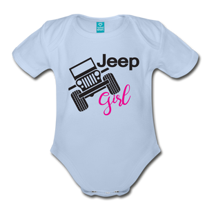 Jeep Girl Organic Short Sleeve Baby Bodysuit - sky