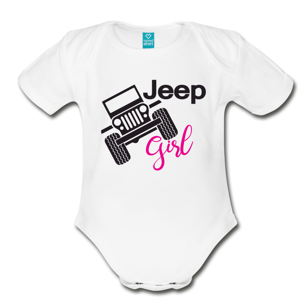 Jeep Girl Organic Short Sleeve Baby Bodysuit - white