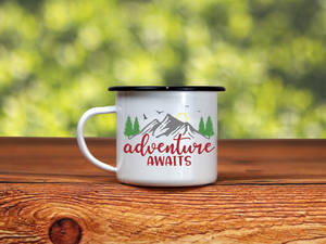 Adventure Awaits | Enamel Camper Mug | Adventure | Camping