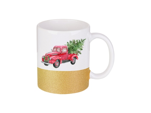 Christmas Tree Red Vintage Truck Glitter Dipped | Coffee Mug | Sparkle