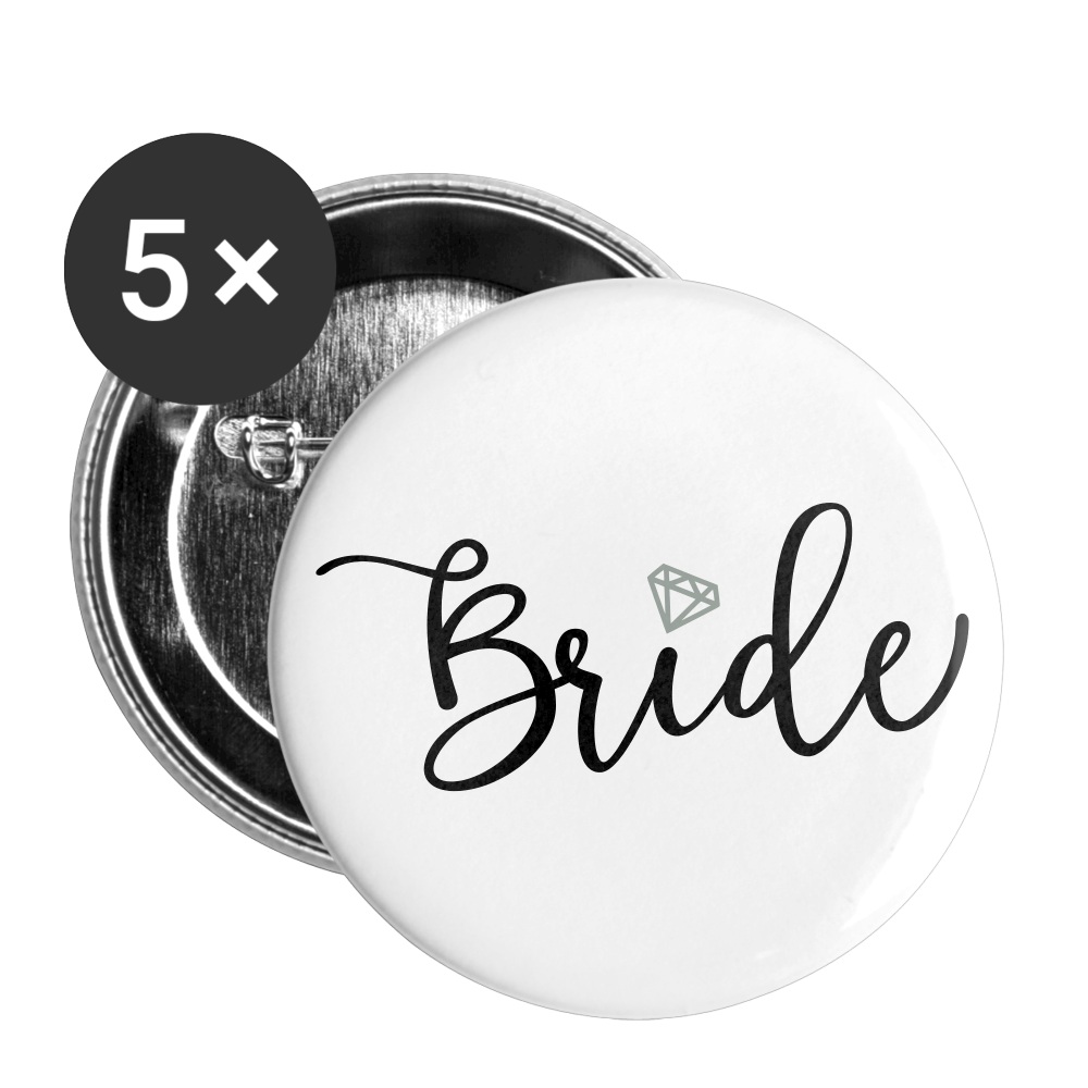 Bride Buttons large 2.2'' (5-pack) - white
