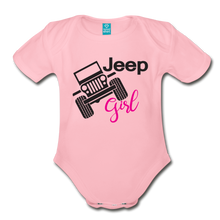 Jeep Girl Organic Short Sleeve Baby Bodysuit - light pink