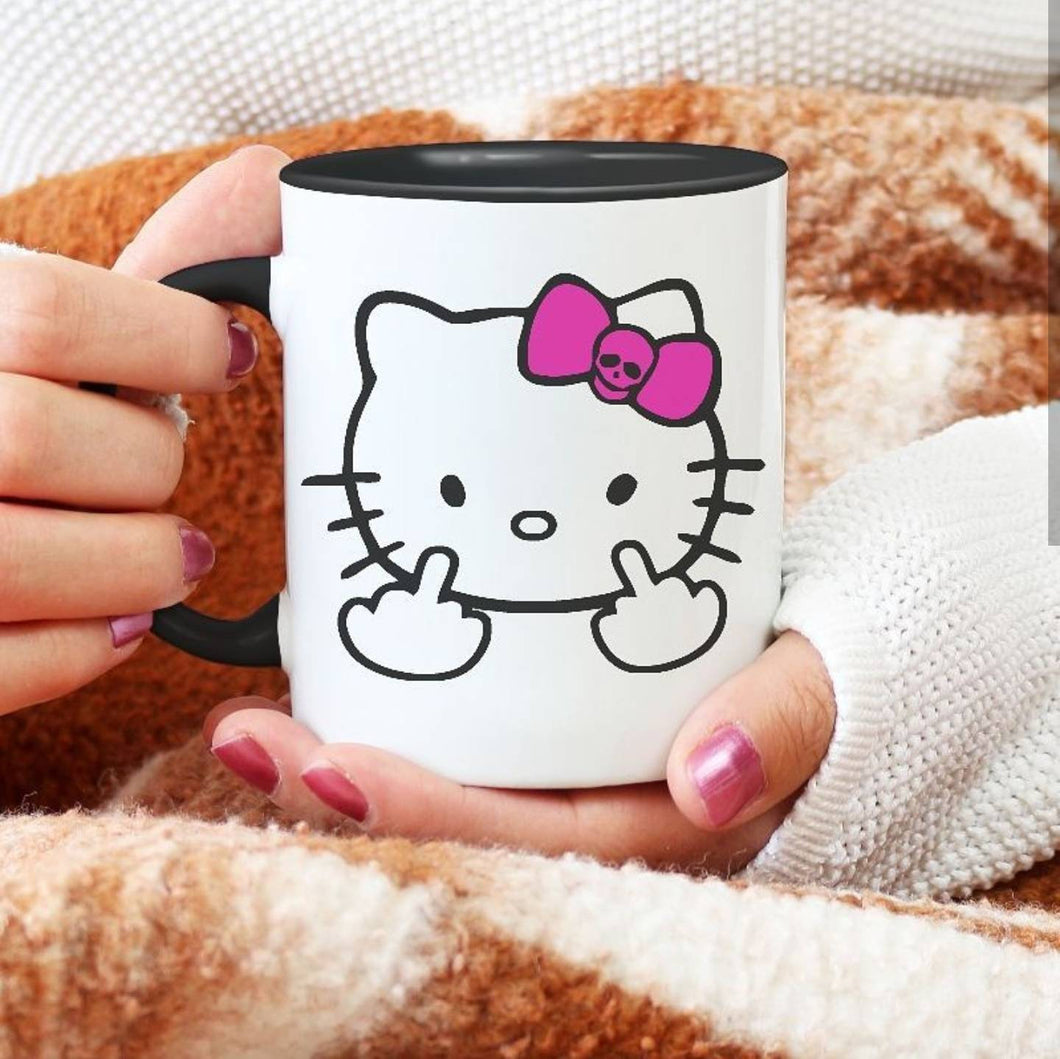 Hello Cat | Middle Finger | Coffee Mug | Fuck you Kitty