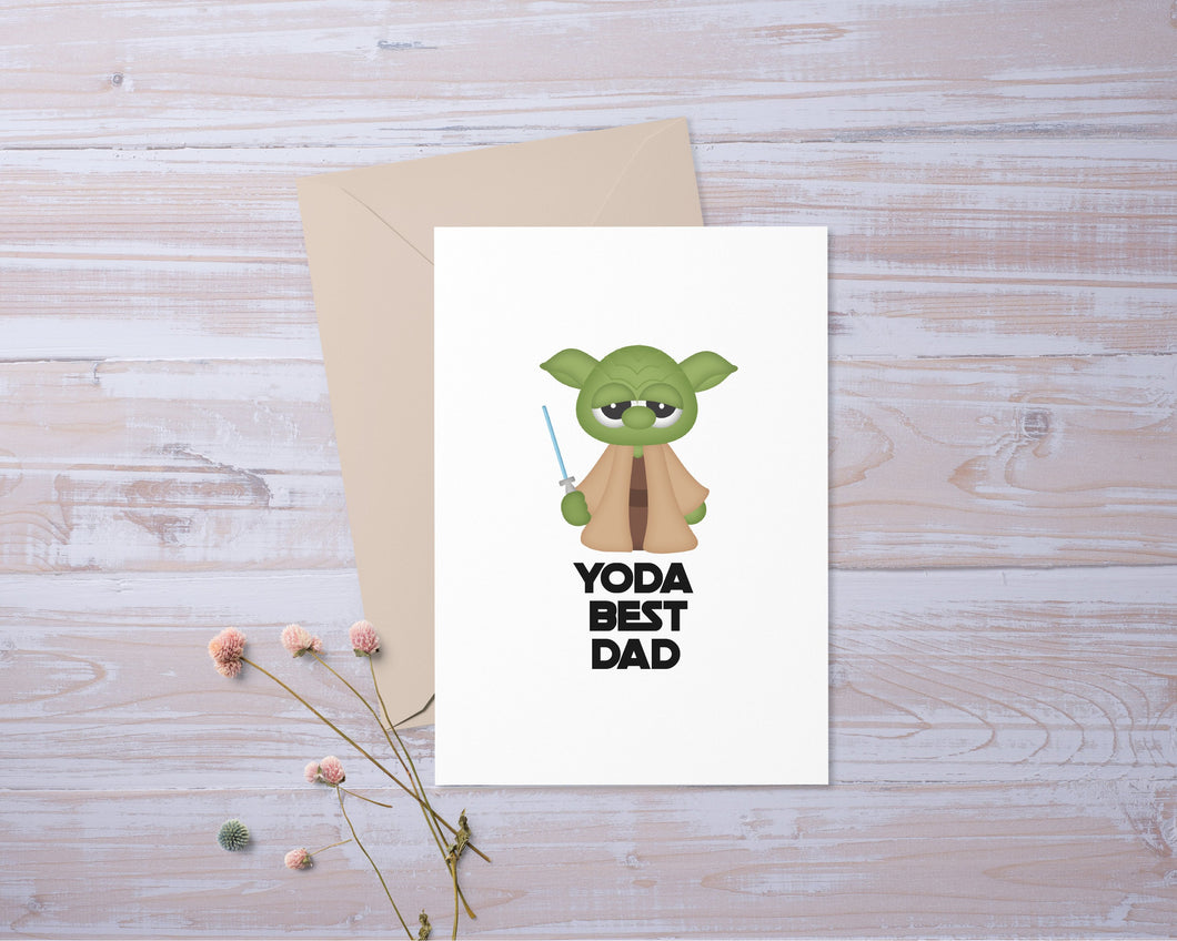 Yoda Best Dad | Star Wars Inspired | Card | Funny | Greeting Card | Gift