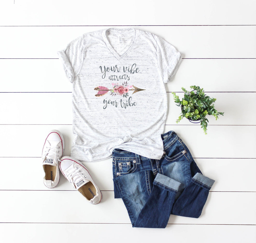 Your Vibe Attracts Your Tribe | Womens Tee | Watercolor | Arrow | Marble