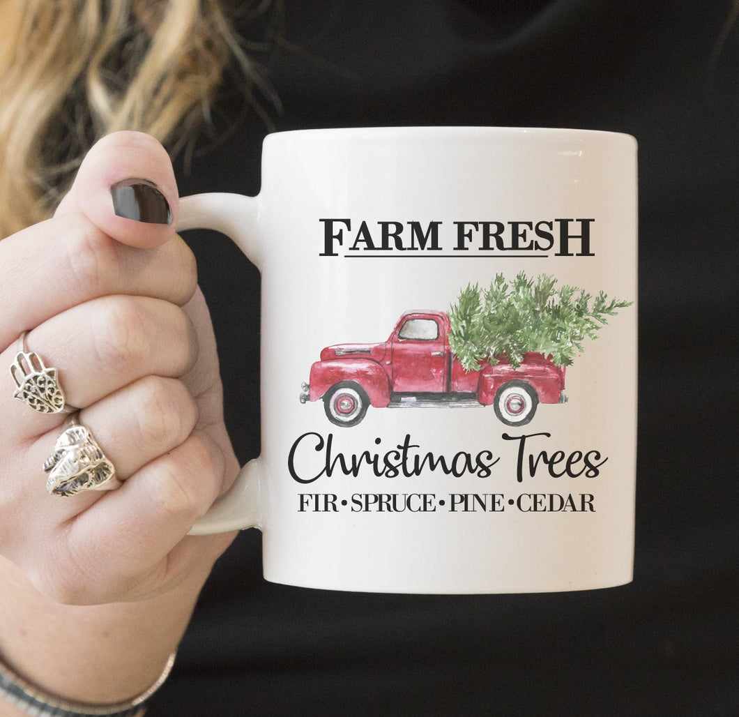 Farm Fresh Christmas Tree Red Truck | Coffee Mug | Holiday