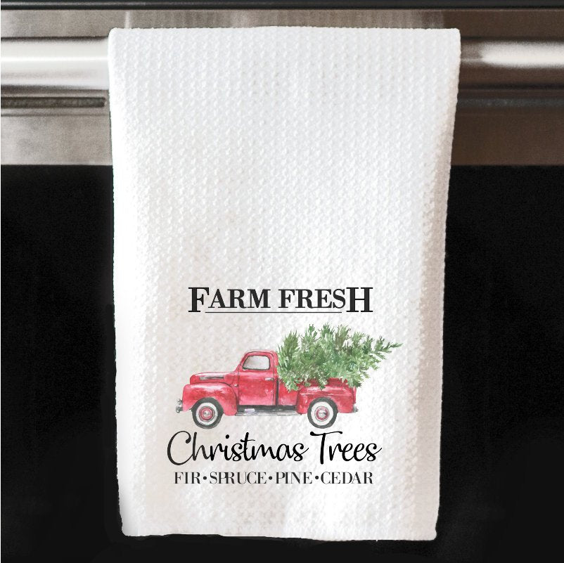 Fresh Farm Vintage Christmas Tree Red Truck Waffle Towel | Kitchen |