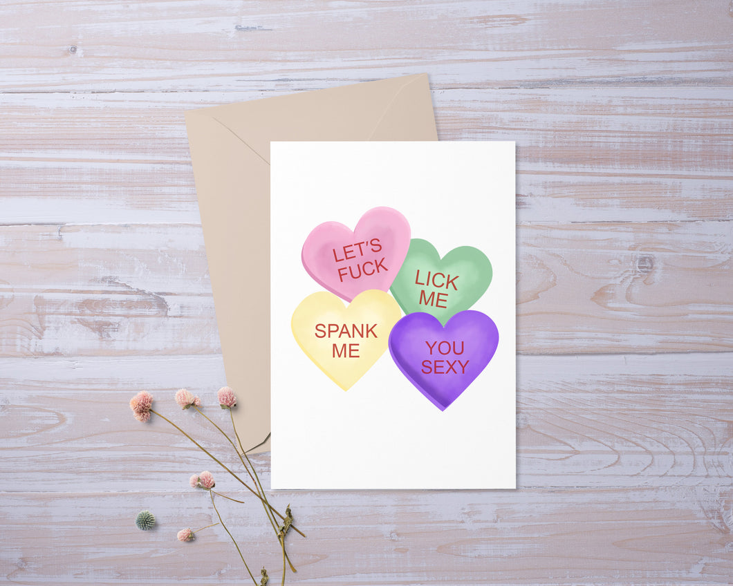 Conversation Hearts Naughty | Valentines Day | Greeting Card | Gift