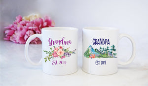 Grandma Grandpa Est Established | Coffee Mug | New GrandParents