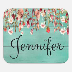 Custom Name | Mouse Pad | Floral | Personalize | Wood