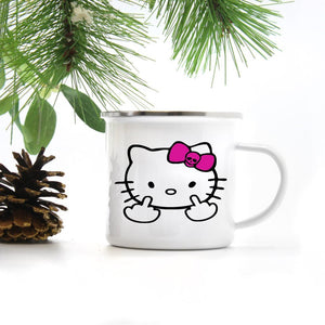 Kitty Middle Finger | Enamel Camper Mug | Adventure | Camping | Hello