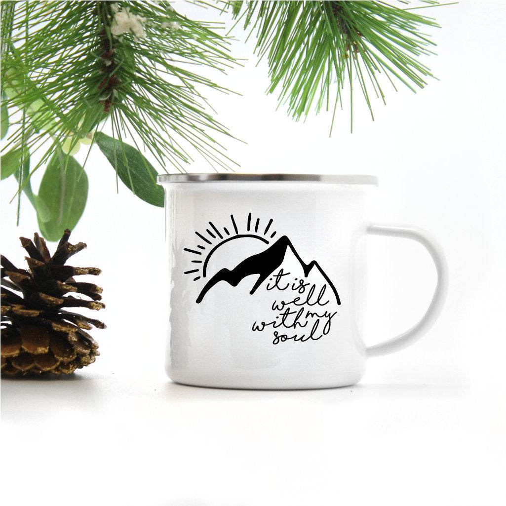 It is Well With My Soul Mountains | Enamel Camper Mug | Adventure | Camping