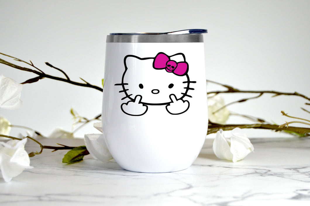 Kitty | Middle Finger | 12 oz Wine Tumbler | Hello Coffee