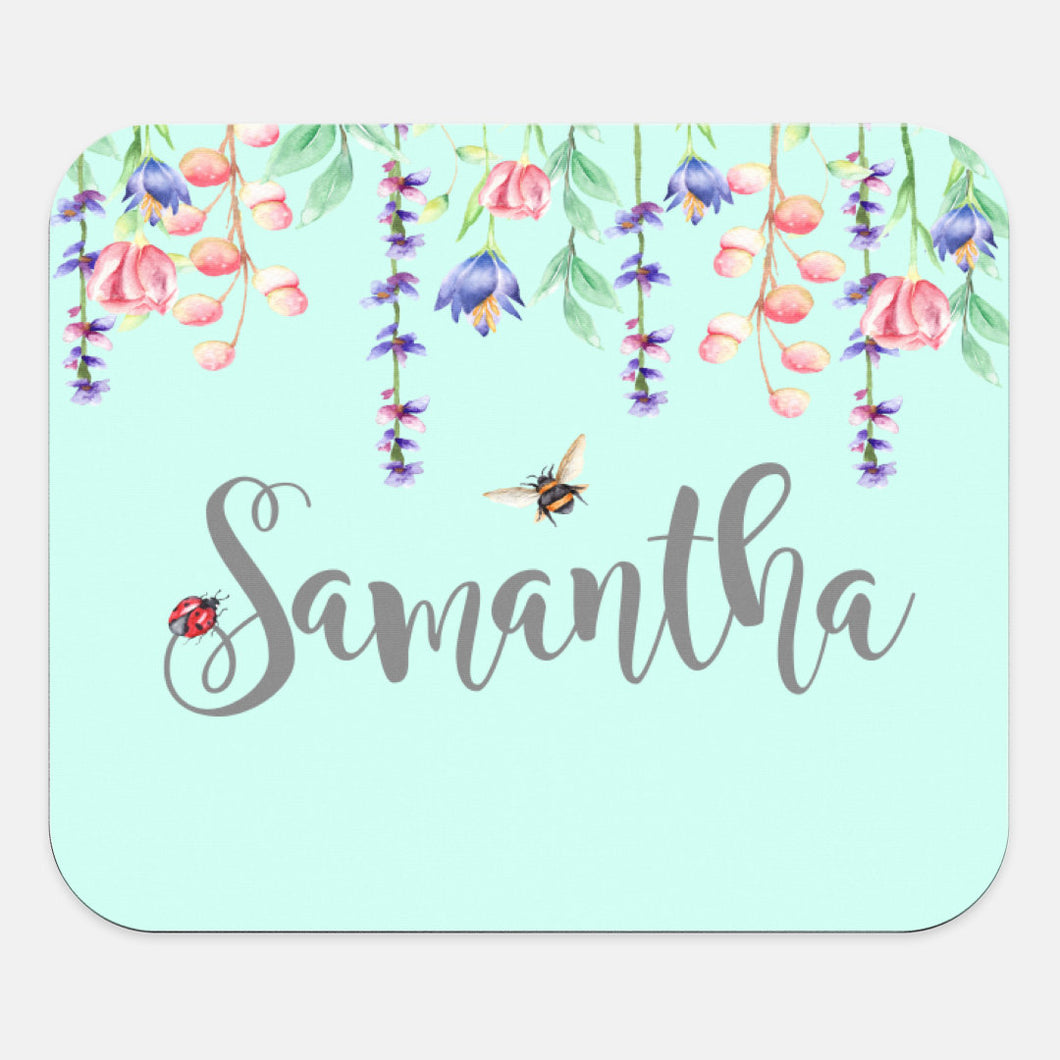 Custom Name | Mouse Pad | Floral | Personalize Spring