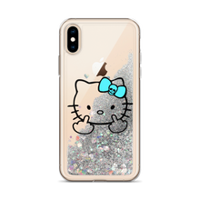 Mean Kitty Middle Finger Liquid Glitter IPhone Case