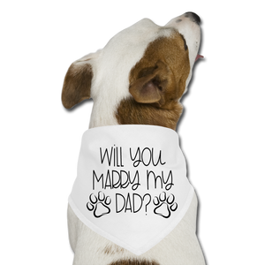 Will You Marry My Dad Pet Bandana - white