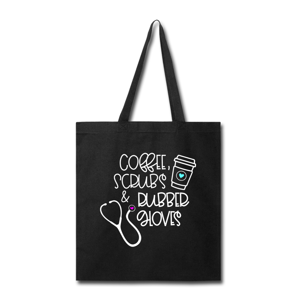 Coffee Scrubs and Rubber Gloves Tote Bag - black