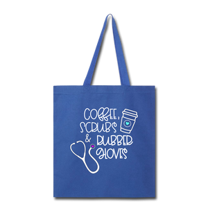 Coffee Scrubs and Rubber Gloves Tote Bag - royal blue