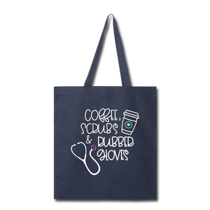 Coffee Scrubs and Rubber Gloves Tote Bag - navy