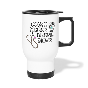 Coffee Scrubs and Rubber Gloves Travel Mug - white