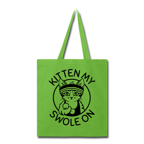 Kitten My Swole on Tote Bag gym Fitness Workout Lifting Weights Animal Funny - lime green