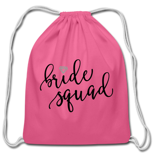 Bride Cotton Drawstring Bag Bridal Party Wedding Marriage Marry Husband Wife Wifey - pink