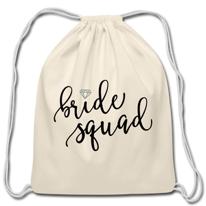 Bride Cotton Drawstring Bag Bridal Party Wedding Marriage Marry Husband Wife Wifey - natural