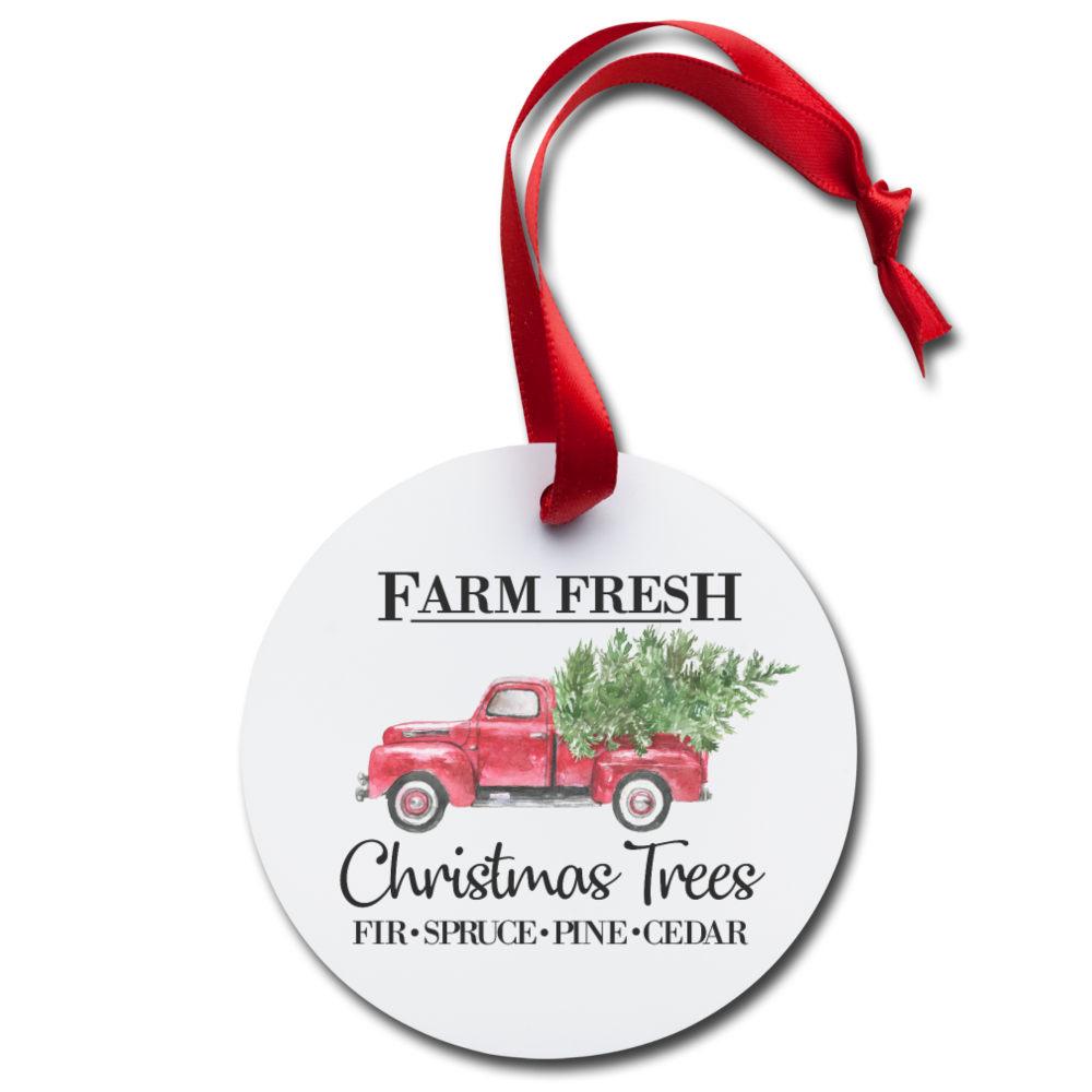 Fresh Farm Christmas Tree Red Truck Holiday Vintage Rustic Holiday Family Holiday Ornament - white