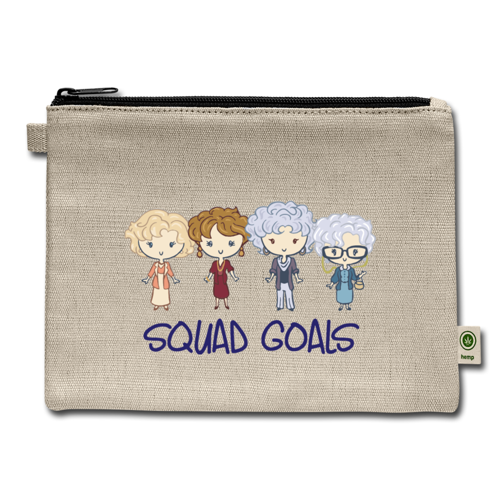 Squad Goals Golden Stay Hemp Carry All Pouch Cosmetic Thank you For being a friend Makeup Besties Buddies Gift - natural