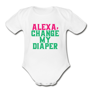 Alexa, Change My Diaper Organic Short Sleeve Baby Bodysuit - white