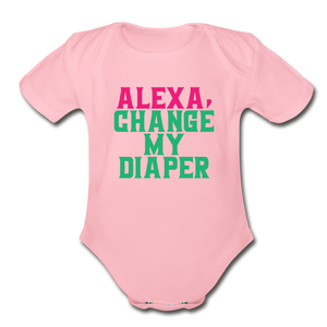 Alexa, Change My Diaper Organic Short Sleeve Baby Bodysuit - light pink