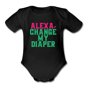 Alexa, Change My Diaper Organic Short Sleeve Baby Bodysuit - black