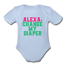 Alexa, Change My Diaper Organic Short Sleeve Baby Bodysuit - sky