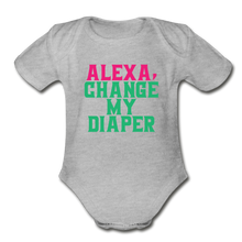 Alexa, Change My Diaper Organic Short Sleeve Baby Bodysuit - heather gray