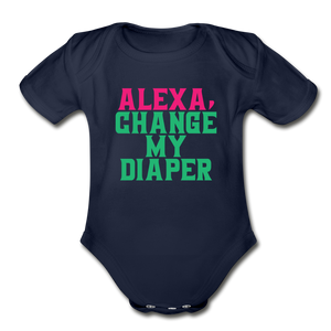 Alexa, Change My Diaper Organic Short Sleeve Baby Bodysuit - dark navy